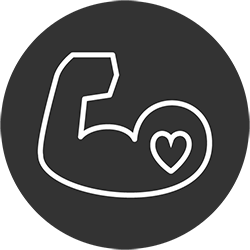 Bicep Icon Flexing It's Muscles with a Heart Icon Inside, Used to Demonstrate the Ability to Block Malicious Content
