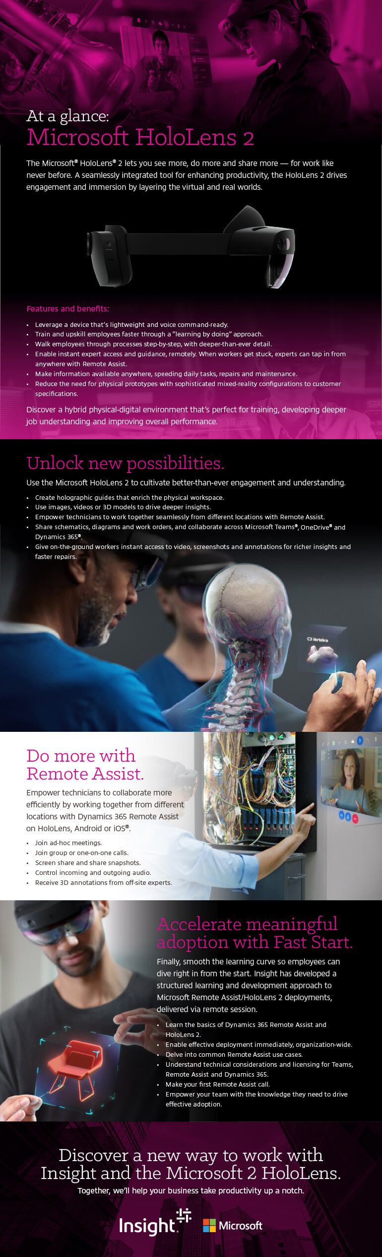 A World of New Possibilities With the Microsoft HoloLens 2 infographic as transcribed below