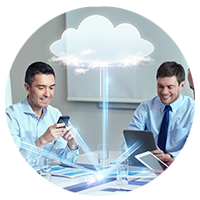 Abstract cloud illustration hovering over two businessmen