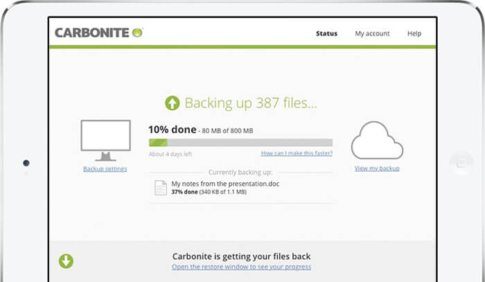 Carbonite backup displayed on iPad