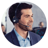 Business man using Jabra headset Engage