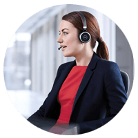 Sales rep using Jabra headset while talking with customer