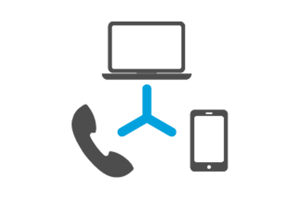 Illustration of laptop computer, phone and tablet connected by the cloud