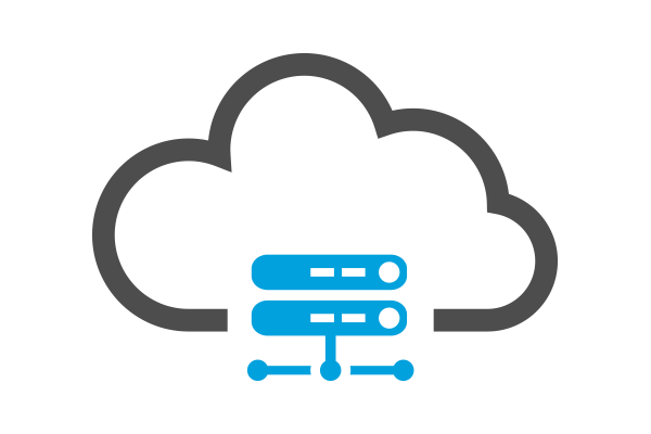Illustration of clouds with data center in the bottom middle