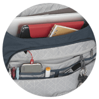 STM Goods lifestyle inside of laptop bag for organization