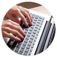 Person with hands on keyboard