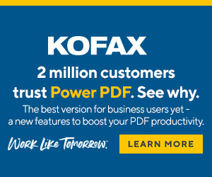 Ad: Kofax: Power PDF. Learn more