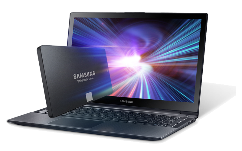 Samsung solid state drive in front of Samsung laptop